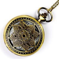Classic Large long design vintage pocket watch butterfly pattern owl