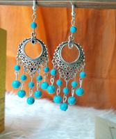National accessories tibetan silver drop earring long design tassel turcos tibetan jewelry earrings yc227