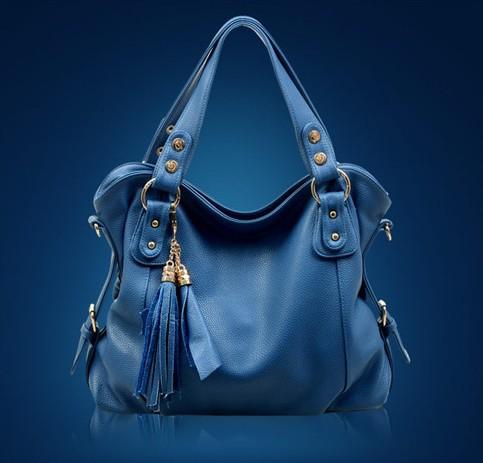 new arrival product 2014 women messenger bag genuine leather handbag luxury tassle zipper organizer should bag BK446(China (Mainland))