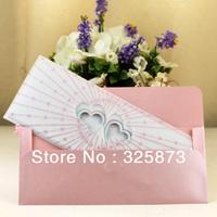 10PCS/LOT Heart Shape Printing Design Wedding Invitation Envelope With Silver Powder Glittering Decoration T289