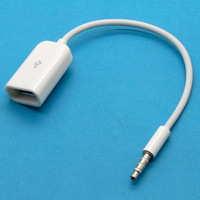 New White 3.5mm Male AUX Audio Plug Jack to USB 2.0 Female Converter Cable Cord free shipping