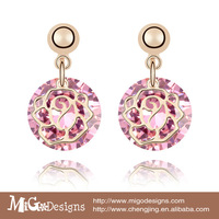 Migodesigns 18K True Rose Gold Plated Cubic Zirconia Stones Round Drop Dangling Earrings