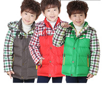free shipping size120-160 boy teenager 90% goose down jacket winter coat boy down warm filled sports jacket winter plaid jacket