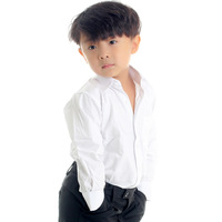 Child 100% cotton white shirt long-sleeve short-sleeve children's clothing white shirt cotton