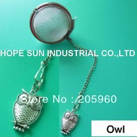 Free Shipping -DELIGHTFUL and CHARMING PATTERNS - (20PCS/LOT)  OWL Stainless steel tea infuser/tea strainer/tea ball