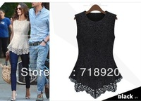 Fashion Womens Flora Crochet Peplum Tank Lace Top Shirt Trendy Blouse Sleeveless