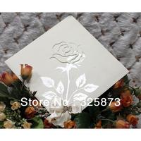 10PCS/LOT Silver Printing Rose Creative Ribbon and Buckle Decoration Wedding Invitations T291