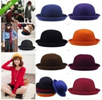 Vintage Bowler Wool Womens Mens Kids Trendy Jazz Cloche Hat Derby Caps 10Colors
