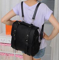 New 2014 High Quality Preppy Korean Vintage Style PU Leather Girls Backpack Double Shoulder Backpacks For Women Black School Bag