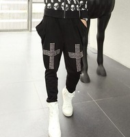 Free shipping! Hot fashion Male novelty punk rivet harem pants trousers casual pants