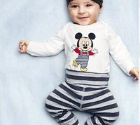 Retail new Autumn 2014 baby wear boys romper babys Mickey Christmas style romper print Mickey rompers+hat+pants 3pcs set