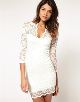 New Women Lace Mini Dress Scalloped V-Neck elegance Ladies Sexy Slim 3/4 Sleeve Cocktail Dress 8 Colors