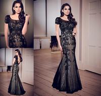 2014 Free Shipping Black Sexy Heavy Appliqued Sleeveless Tulle Cap Sleeve Jewel Custom Formal Long Mermaid Prom Evening Dresses