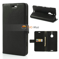 Black Litchi Folio Leather Stand Case w/ Card Slots Cover For Nokia Lumia 1520 Free Shipping