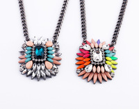 On sale Free shipping 2  Candy Colors Rhinestone Glass Women's Temperament Chunky Choker Bib Statement Necklaces N1523