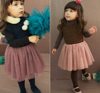 Free shipping 5pc/lot 2013 Fashion Baby Girl Vest Dress For Kids Wear Children Sleeveless Sweater Dress Brown Navy