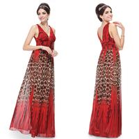 HE08069 Ever Pretty 2014 New Deep V-neck Leopard Print Ruched Waist Chiffon Maxi Dress Long Evening Gown