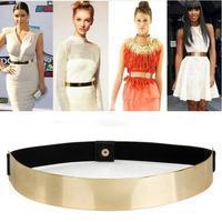 1pcs Slim Elastic Metallic Bling Simple Fashion Band Gold Plate Metal Waist Belt Drop Shipping Wholesale