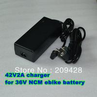 Free shipping 36V NCM Li Li-ion battery pack charger lotus type video 42V 2A for electric bike e-bike ebicycle EB Wheelchair