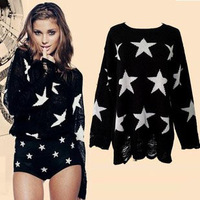 Stars handmade sweaters for women loose sweater long sleeve hole knitted black free size full pullovers women witer 2014