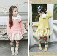 Free shipping 5pc/lot New Autumn Sweetie Girls Knit Sweaters / Pullovers With Flower Children Sweater Clothings Pink Yellow