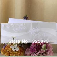 10PCS/LOT Hot Sale PVC Heart Shape Powder Decoration Hot Stamp And Embossed Wedding Invitation T315