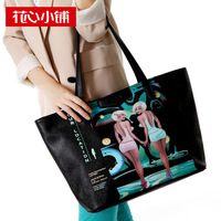 free shipping - 2013 autumn color block bag print shopping bag handbag one shoulder female bags - 10533
