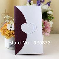 10PCS/LOT Elegant Purple Embossing and Hot Stamp Paper Divas Wedding Invites Invitations Designs T321