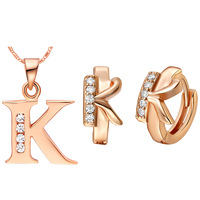 Free Shipping Wholesale Best Quality Platinum Plated Crystal Letter Necklace & Earrings Fashion Jewelry Set,GYT345