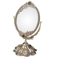 Classical style faux bronze 360 degree rotate cosmetic mirror make-up mirror for desktop dresser counter Size S 1206