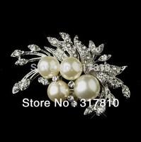 Vintage Style Rhodium Silver Diamante Cream Pearl & Rhinestone Floral Brooch Pin