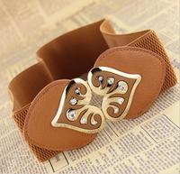 Newest crystal peach heart brand designer fashion elastic waist belt,female fashion all match decoration cummerbunds belt