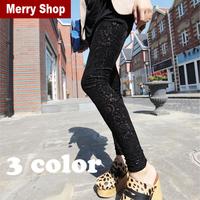 Free Shipping 2013 Fashion Luxury Women Hollow Out Sexy Skinny Pleuche Leggings Lace Leggings For Women 2pcs/ 5%off