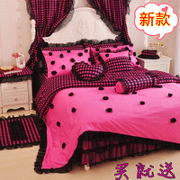 Free shipping Rustic princess  home textile 100% cotton bedskir t4pcs (1quilt cover+1 bed sheet+ 2 pillowcase)