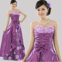 2014 New Fashion Evening Clothing Purple Bowknot Flower Dresses Long Pattern Off Shoulder Evening Dresses Can be Customized Z223