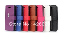 100pcs/lot DHL Free shipping  Lichee Leather Wallet Case For iPhone 5C with cards slot