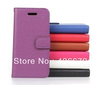 Free shipping  Lichee Leather Wallet Case For iPhone 5C with cards slot