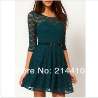 happy SZ Sexy Spoon Neck 3/4 Sleeve Lace Sakter Dress Belt Include free shipping