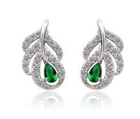 Noble Leaf shape crystal Imitation diamond hollow stud earrings for women fashion style  Free shipping K036
