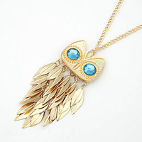 Cheap Wholesale 10pcs/lot NEW gold leaf owl necklace sweater necklace 100% rhinestone Excellent Quality free shipping