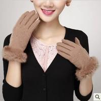 Winter women's touch screen gloves 2013 autumn and winter female rabbit fur wool gloves