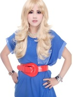 Free shipping, long fluffy neat bang wig set of curly hair girl in long hair wig caps