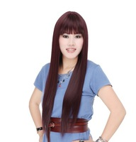 Free shipping and 100% high temperature silk wig wig long straight natural color high-grade simulation