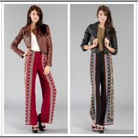 Aztec 2013 autumn bohemia elastic waist wide leg pants trousers palazoo