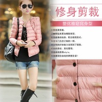 2013 winter women's slim design short wadded jacket outerwear fashion o-neck sweet down cotton-padded jacket