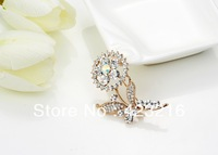 free shipping 12pcs/pack  crystal flower design collar brooch for wedding invitation and Party free shipping