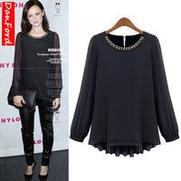 2013 New Brand Women's Long Sleeve Shirt  Black Fashion  Plus Size Chiffon Blouse S-4XL Shirt for Women DFWB-018
