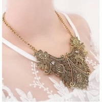 "K176 ""Card packaging"" carved floral retro antique gold necklace European and American retro metal geometric pattern"
