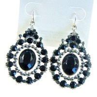 Luxury deep blue crystal drop earrings  ,wholesale price jewelry ,high quality, 3.16188.Max Ring ,Free shipping