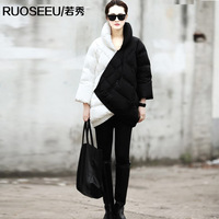 2013 newest fashion medium-long thickening black and white patchwork block color asymmetric plus size tooling down coat female